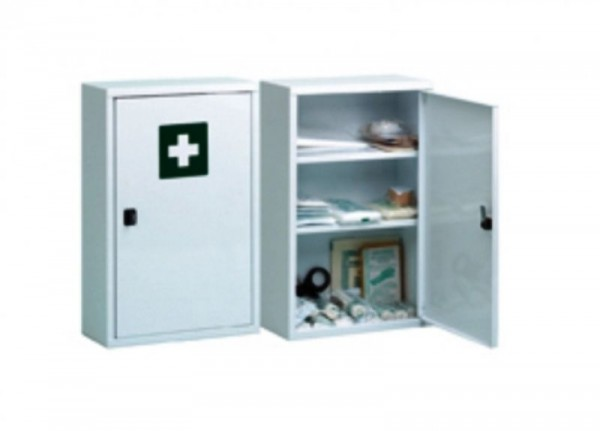 Verbandschrank, Verbandskasten, Stahlblech, perlweiß, 2 Böden