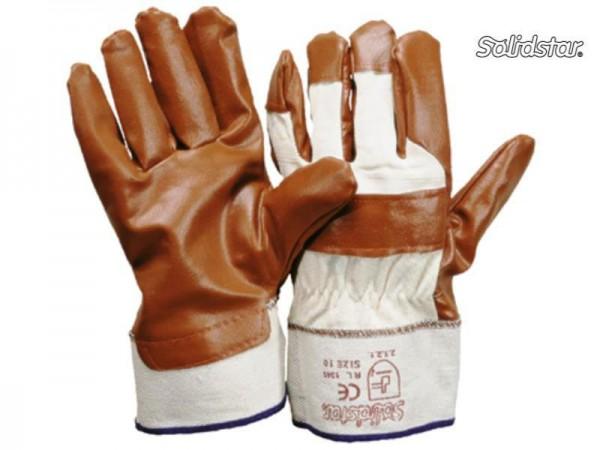 Nitril braun Baumwollhandrücken Handschuh 1345, atmungsaktiv