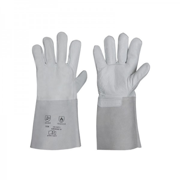 Nappaleder-Handschuh mit Spaltlederstulpe 1156, Länge 35 cm