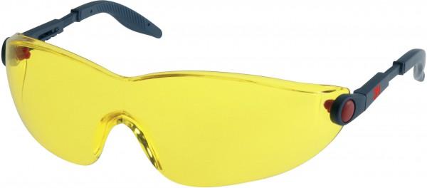 3M 2742 Schutzbrille AS/AF/UV, PC, gelb getönt, einstellbare Bügellänge
