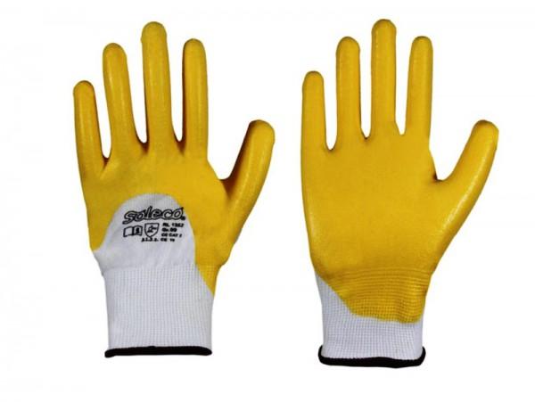 Soleco Strickbund Nitril gelb Handschuh 1352, Polyester-Feinstrick