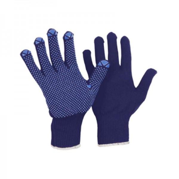 Feinstrick-Montage Handschuhe, Polyamid-Baumwolle, mit Benoppung, blau (12 Paar)