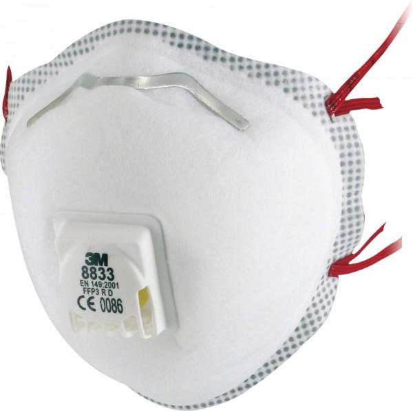3M 8833 Atemschutzmaske FFP3 R D Komfort: vorgeformte Maske mit Ausatemventil (10 Stck. Packung)