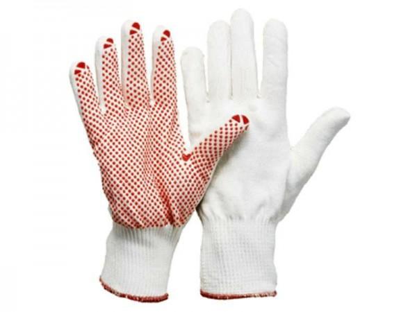 Feinstrick-Montage Handschuhe, Polyamid-Baumwolle, mit Benoppung (12 Paar)
