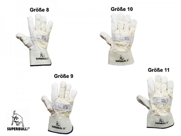 Superbull 3 TOP-Rindnarbenleder Handschuhe 1136, viele Größen