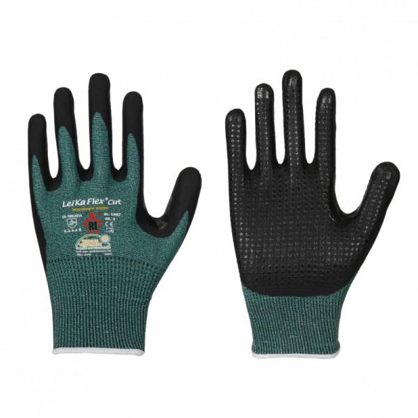 LeiKaFlex CUT 3 mit Noppen Schnittschutz Handschuh 1667, Nitril-Schaum, Level 3